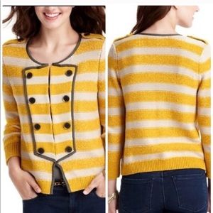 Ann Taylor LOFT mustard striped cardigan sweater